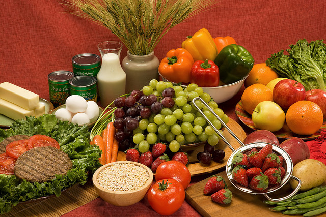 Fruits and vegetables laid out on a table