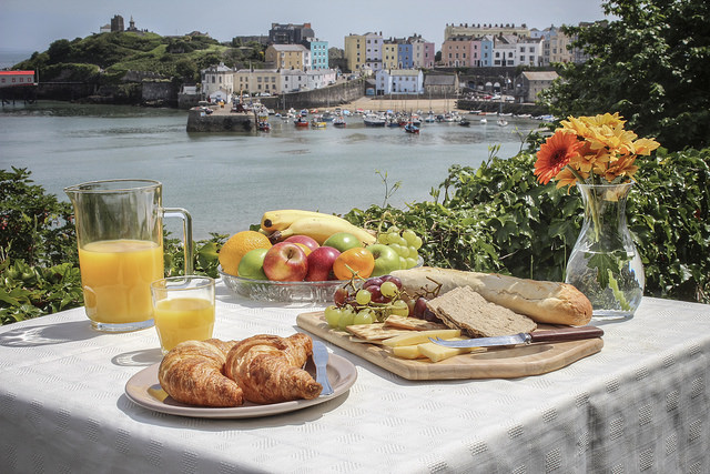 Breakfast looking over Tenby Harbour in Pembrokeshire, South Wales