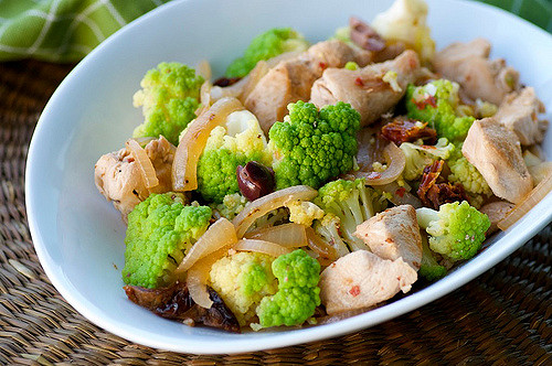 easy chicken saute with broccoflower, sun-dried tomatoes, and olives