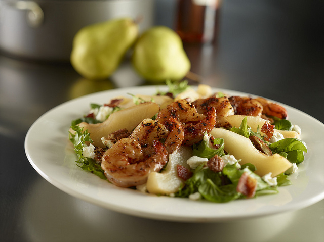Cajun Shrimp & Poached Pear Salad