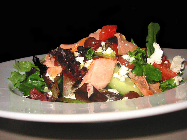 Greek Salad With Smoked Salmon & Honey - Lime Vinaigrette