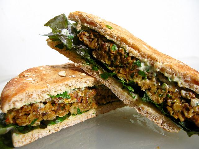 Black Bean & Oatmeal Burgers w/ Cilantro-Lime Mayo: Atop Wheat Flats w/ Bibb Lettuce